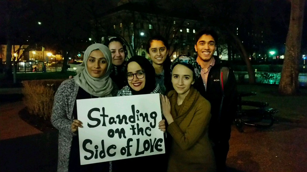Pitt's Muslim Student Association organized a vigil on Tuesday night to support those killed in the Quebec City mosque shooting. Rebecca Peters | Contributing Photographer
