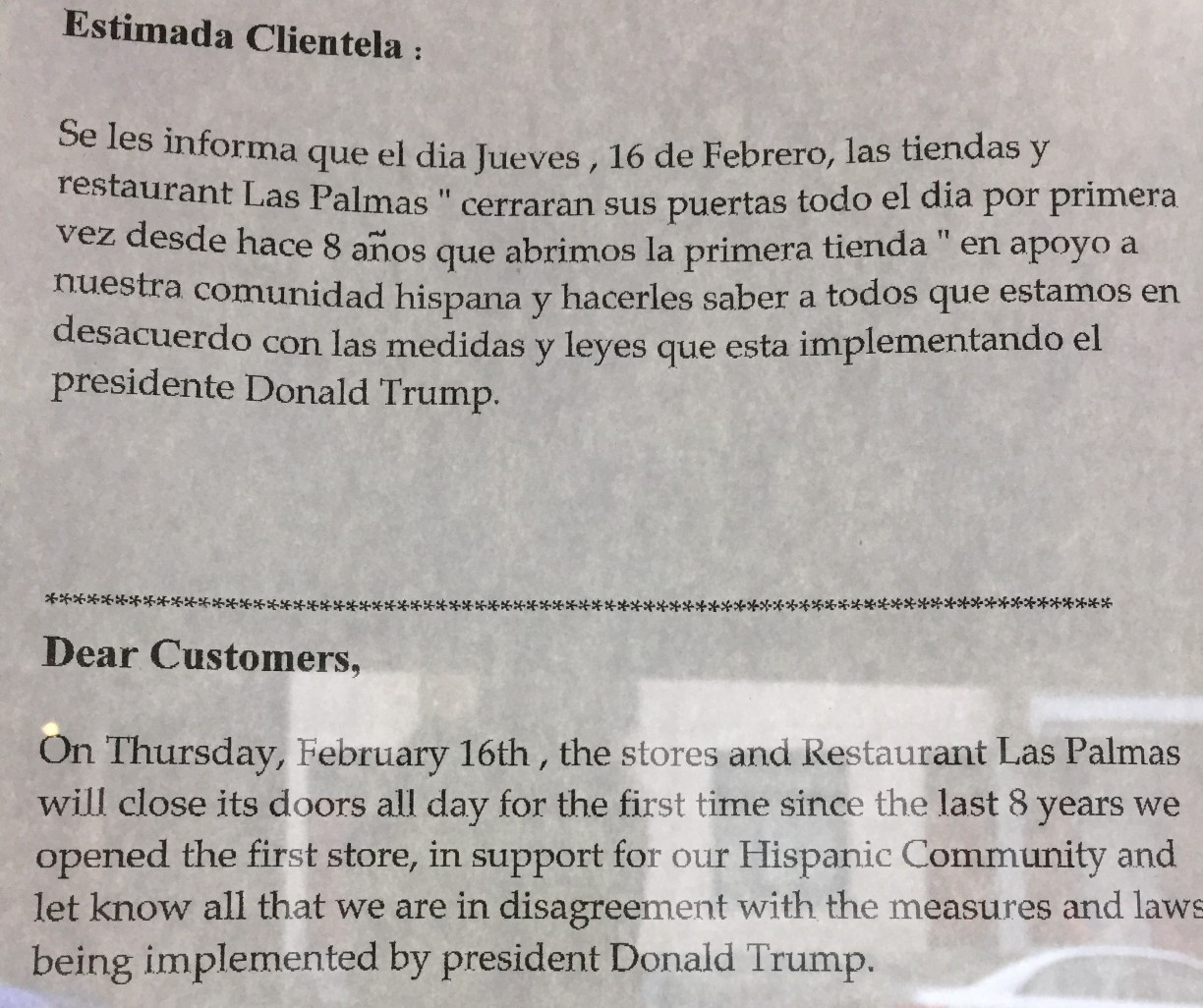 Las Palmas' Oakland store posted a message in both English and Spanish informing customers they would be closed Thursday. James Evan Bowen-Gaddy | Contributing Editor