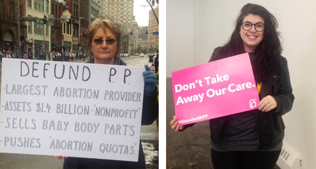Pauline Donnelly, 63, and Elizabeth Wozniak, 25, rallied against and for Planned Parenthood, respectively. Alexis Carter | Staff Writer