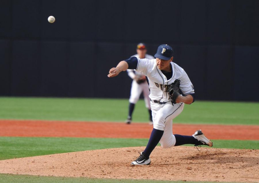 Pitt+senior+Josh+Falk+picked+up+his+second+win+of+the+season+in+the+Panthers%27+11-5+victory+Saturday+vs.+Siena.+Matt+Hawley+%7C+Staff+Photographer