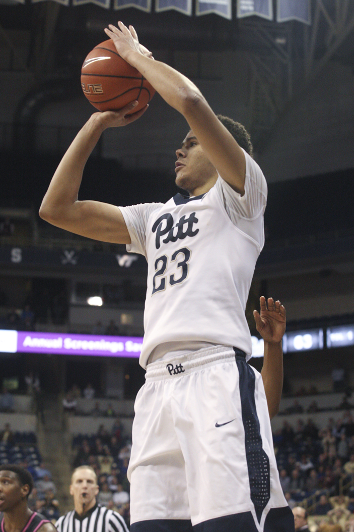 Pitt sophomore guard Cameron Johnson misses a potential game-tying 3-pointer in the final seconds against Virginia Tech. Donny Falk | Staff Photographer