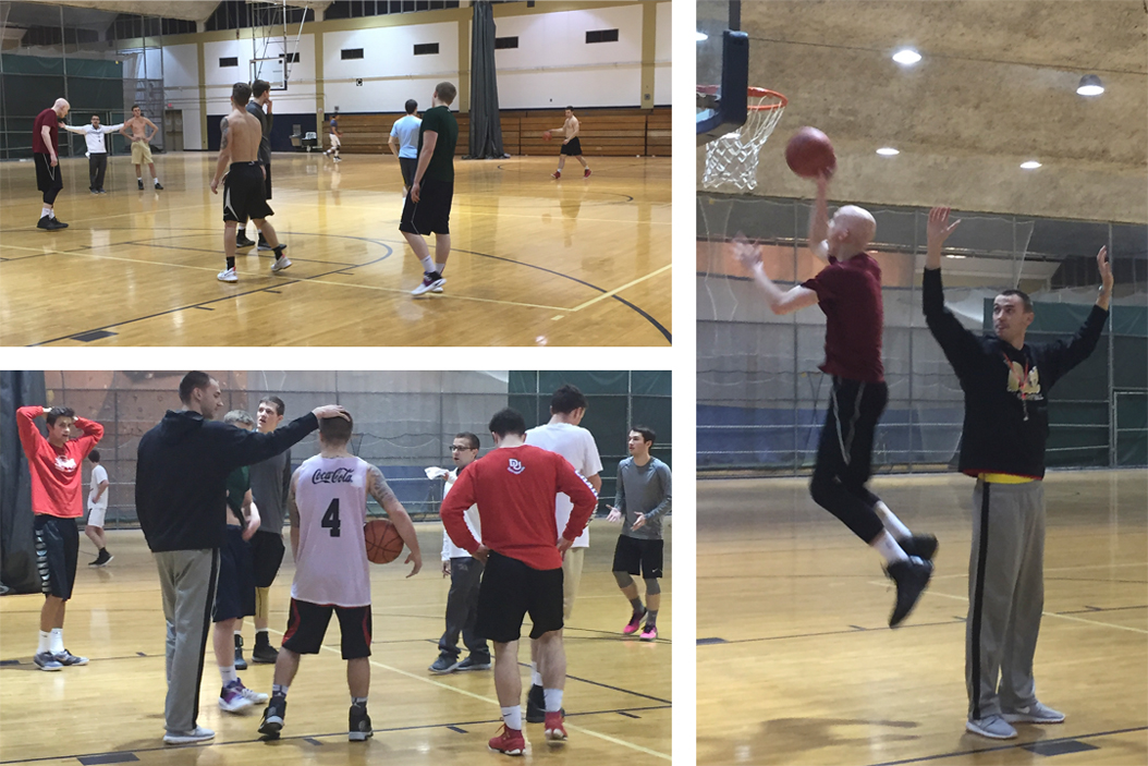 Pitt men's club basketball team practices at Trees Hall. David Leftwich | For The Pitt News