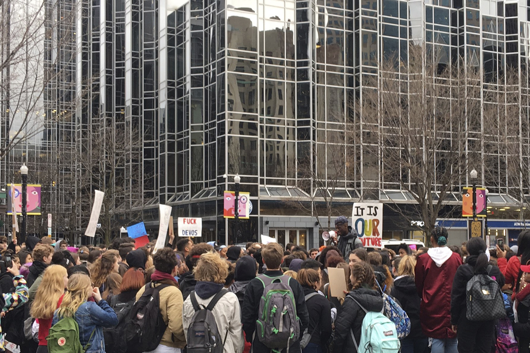 More than 200 Pittsburgh high school students gathered in Market Square to protest the confirmation of Betsy DeVos as education secretary. Courtesy of @notthreefifths/Twitter