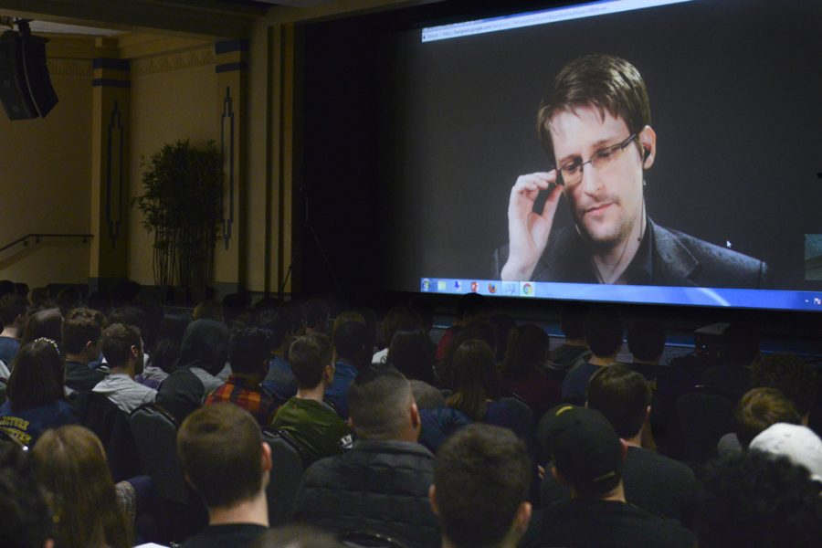 Edward+Snowden+pauses+during+his+video+address+to+students+which+included+a+speech+and+a+Q%26A.+John+Hamilton+%7C+Visual+Editor