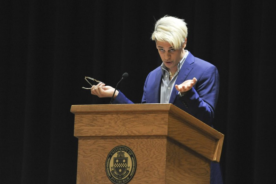 Milo+Yiannopoulos+speaks+at+Pitt+in+Feburary+of+last+year.+Abigail+Self+%7C+Staff+Photographer