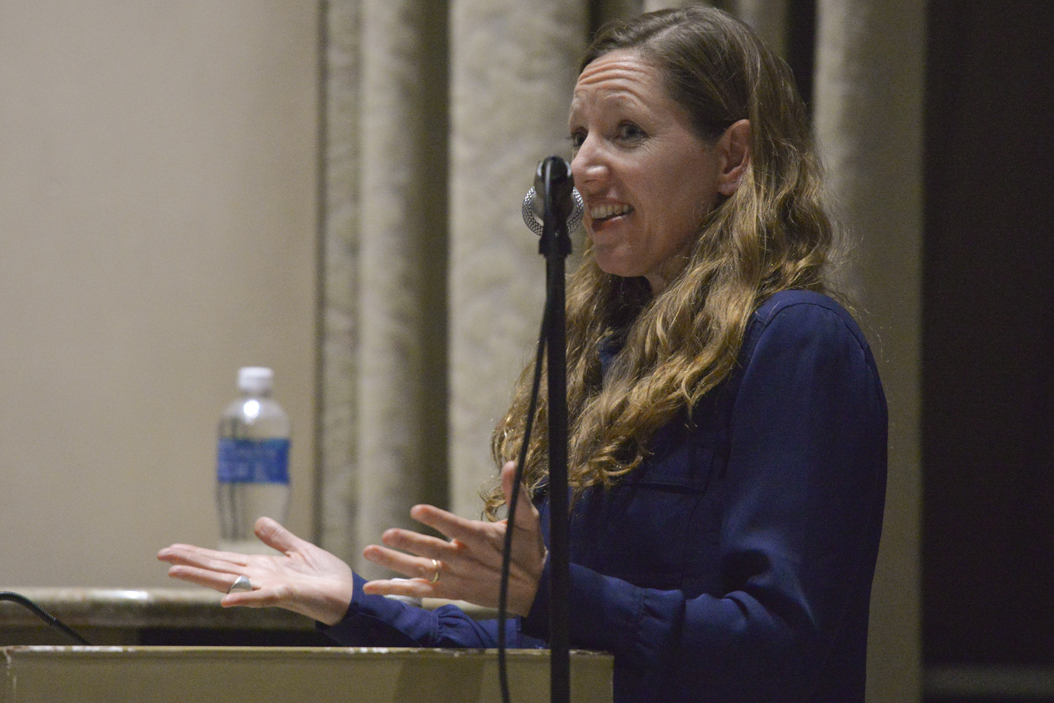 Author and poet Maggie Nelson spoke to about 200 people in Frick Fine Arts Auditorium Thursday night. John Hamilton | Visual Editor