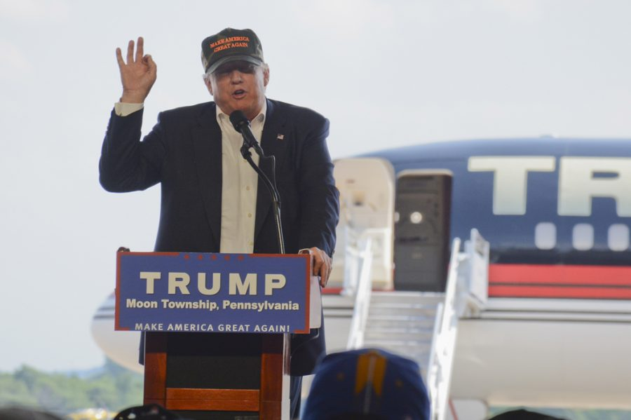 Donald Trump speaks at a rally at the Pittsburgh airport last summer. President Trump implemented a federal employment freeze to cut government waste and corruption. Stephen Caruso | Online Visual Editor