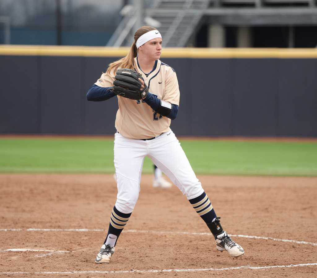 Pitt junior Kayla Harris pitched a perfect game last Sunday to help her earn ACC Pitcher of the Week honors. Matt Hawley |  Staff Photographer