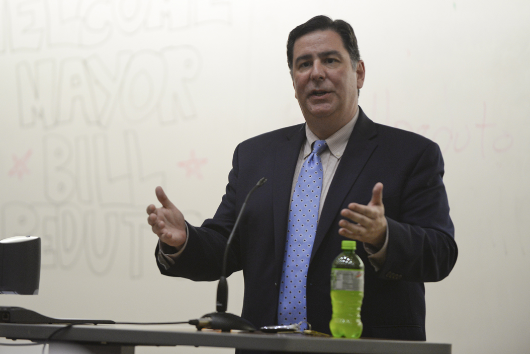 Mayor Peduto speaks to Pitt College Democrats in September.  On Tuesday, he talked about plans involving water and affordable housing. Meghan Sunners | Assistant Visual Editor