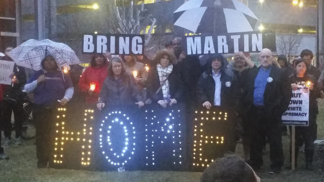 People gathered near the Hot Metal Bridge to support the effort to bring Martin home on Tuesday night. Mary Sandra Do | Contributing Photographer