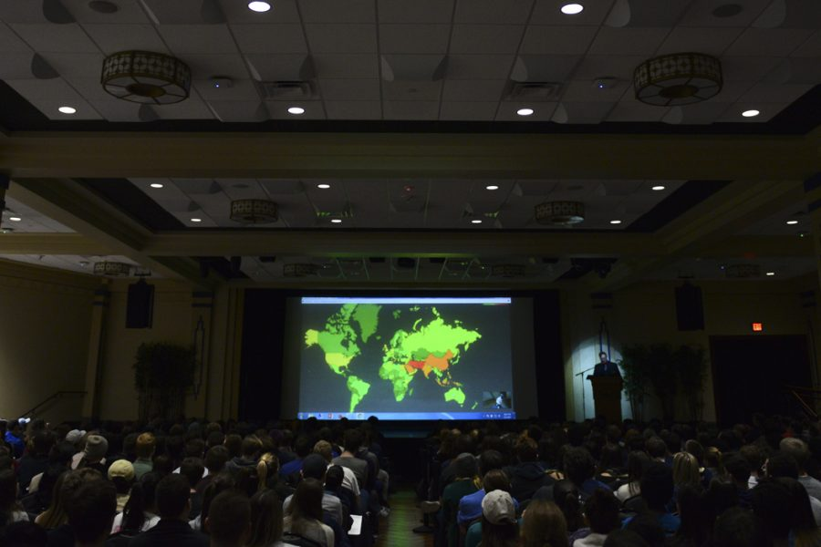 Snowden shows the audience a heatmap displaying levels of NSA surveillance worldwide. He noted that the United States is under more surveillance than Russia. John Hamilton | Visual Editor