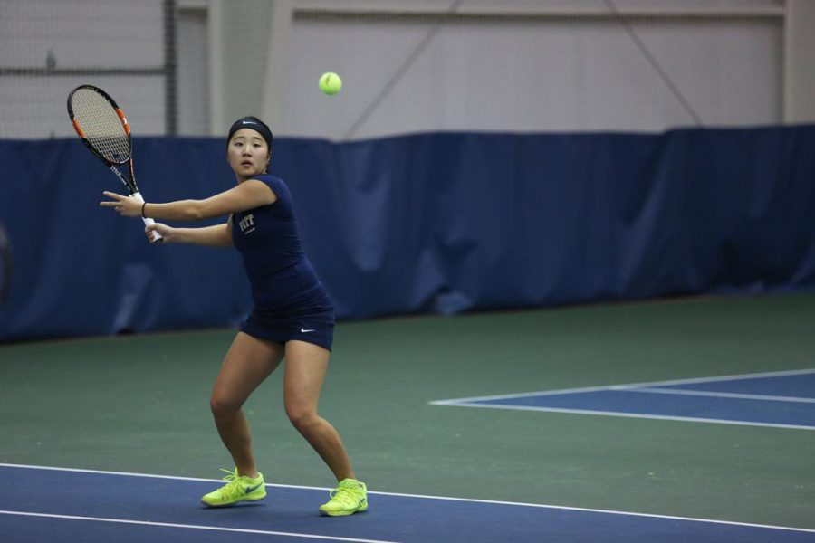 Pitt sophomore Natsumi Okamoto dropped a 6-2, 6-4 decision in the No. 6 singles spot Saturday at Louisville. Courtesy of Pitt Athletics