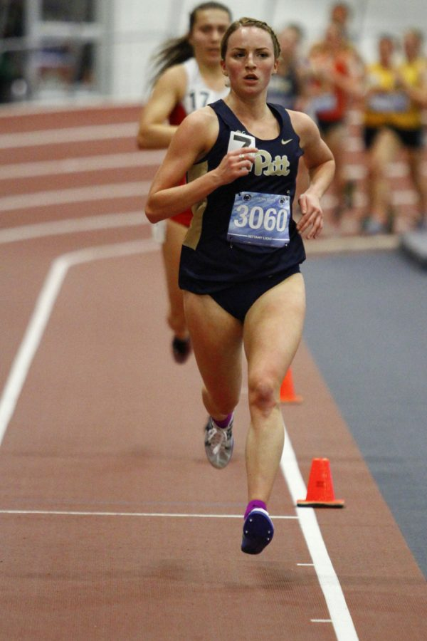 Senior Ariel Pastore-Sebring, pictured running in the PSU National Open, set a personal best on Saturday in the 3,000m with a time of 9:50.95. Courtesy of Barry Schenk / Pitt Athletics