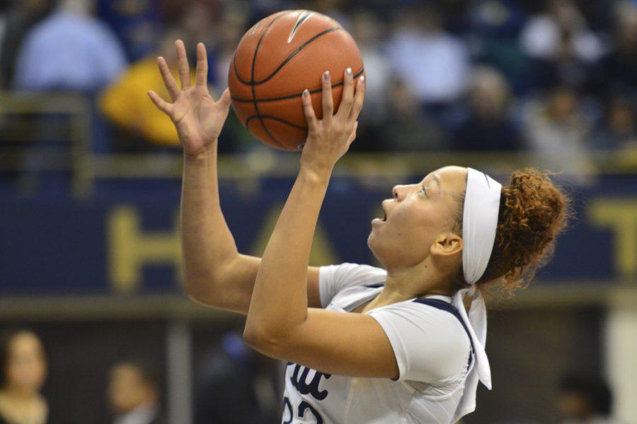 Pitt forward Kalista Walters shoots against Louisville on Jan 29. Evan Meng | Staff Photographer