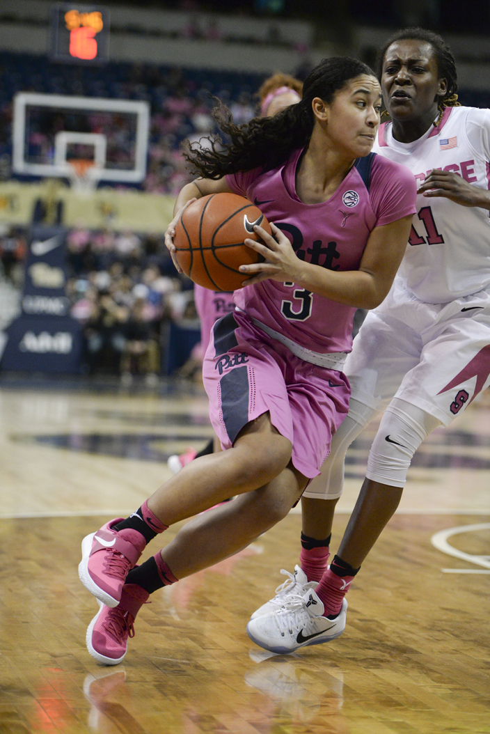Pitt point guard Jasmine Whitney (3) scored 11 points in a 73-57 loss on Senior Day vs. No. 20 Syracuse. Anna Bongardino | Staff Photographer