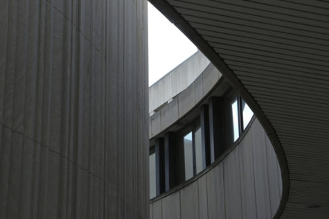 The curved outer wall of David Lawrence Hall. John Hamilton | Visual Editor