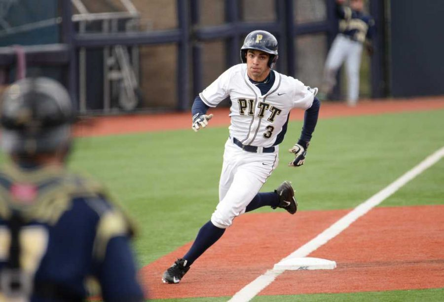 Pitt center fielder Frank Maldonado belted his first home run of the season in a doubleheader on Saturday. Jeff Ahearn | Senior Staff Photographer