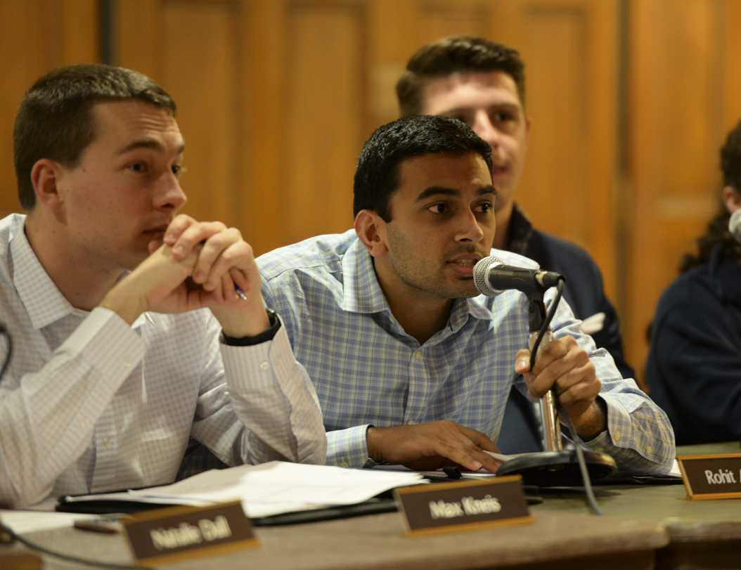 Pitt senior and Student Government Board Vice President Rohit Anand speaks at a SGB meeting Tuesday night, March 28. Kyleen Considine | Staff Photographer