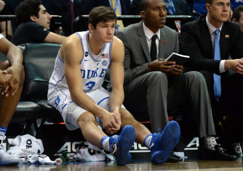Duke's Grayson Allen (3) sits on the bench in the second half against Clemson during the second round of the ACC Tournament at the Barclays Center in Brooklyn, New York, on Wednesday, March 8, 2017. Duke advanced, 79-72. (Chuck Liddy/Raleigh News & Observer/TNS)