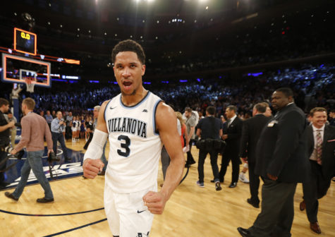 Villanova's Josh Hart celebrates after a 55-53 win against Seton Hall in the semifinals of the Big East Tournament at Madison Square Garden in New York on Friday, March 10, 2017. (David Maialetti/Philadelphia Inquirer/TNS)