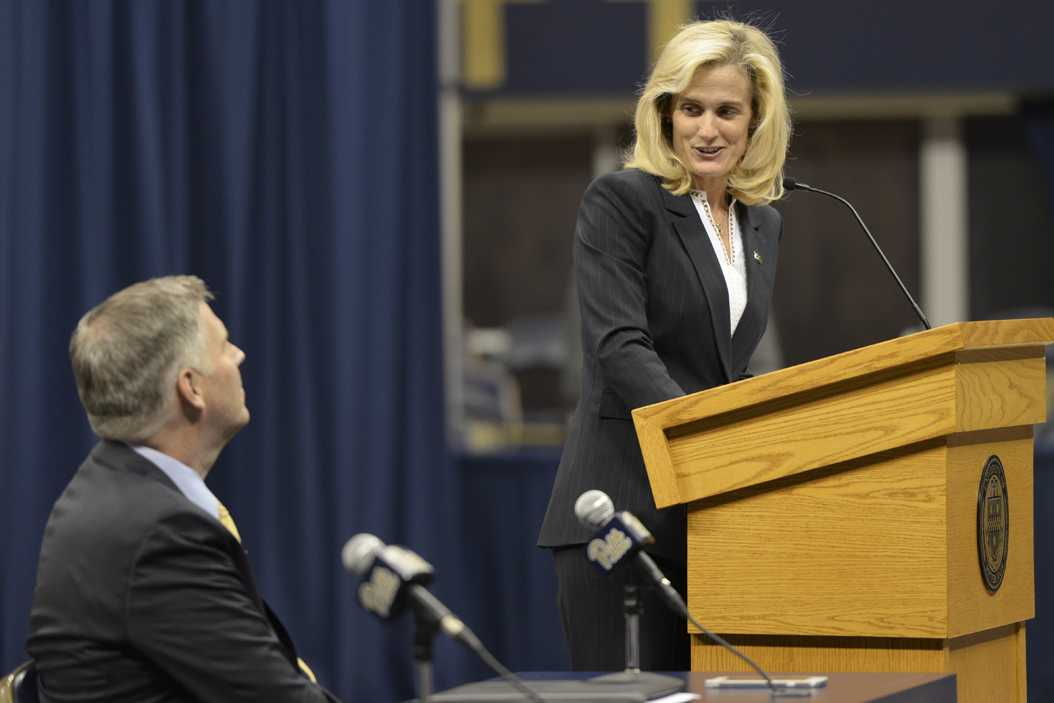 Pitt's new Athletic Director Heather Lyke speaks at her introductory press conference Monday alongside Chancellor Patrick Gallagher. (TPN File Photo)