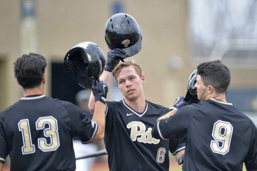 Redshirt junior Caleb Parry (6) hit a grand slam in Pitt's 20-1 win on Wednesday. TPN File Photo
