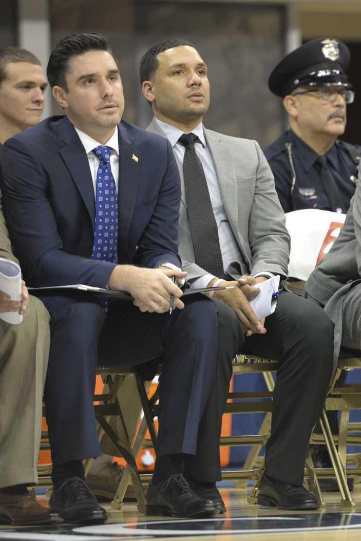 Pitt men's basketball assistant coach Jeremy Ballard (right) is leaving to take an associate head coach position at VCU. Meghan Sunners | Visual Editor