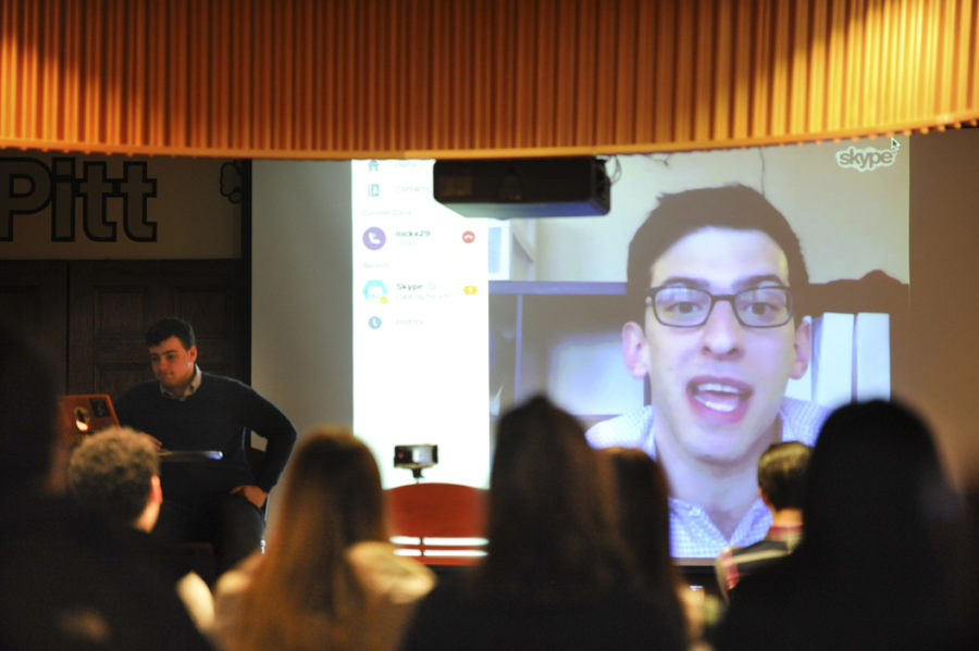 Nick+Tabor+video-chatted+with+students+to+offer+insights+into+the+field+of+public+service+and+policymaking.+Julia+Zhu+%7C+Staff+Photographer