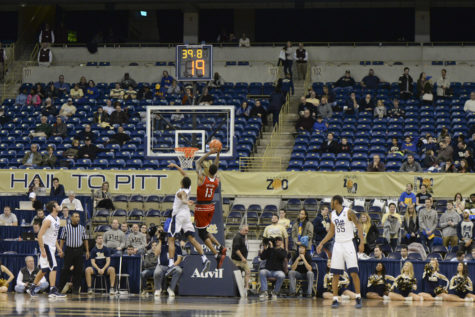A small crowd watches the last seconds of Pitt's 106-51 loss to Louisville on Jan 24, 2017. Evan Meng | Staff Photographer