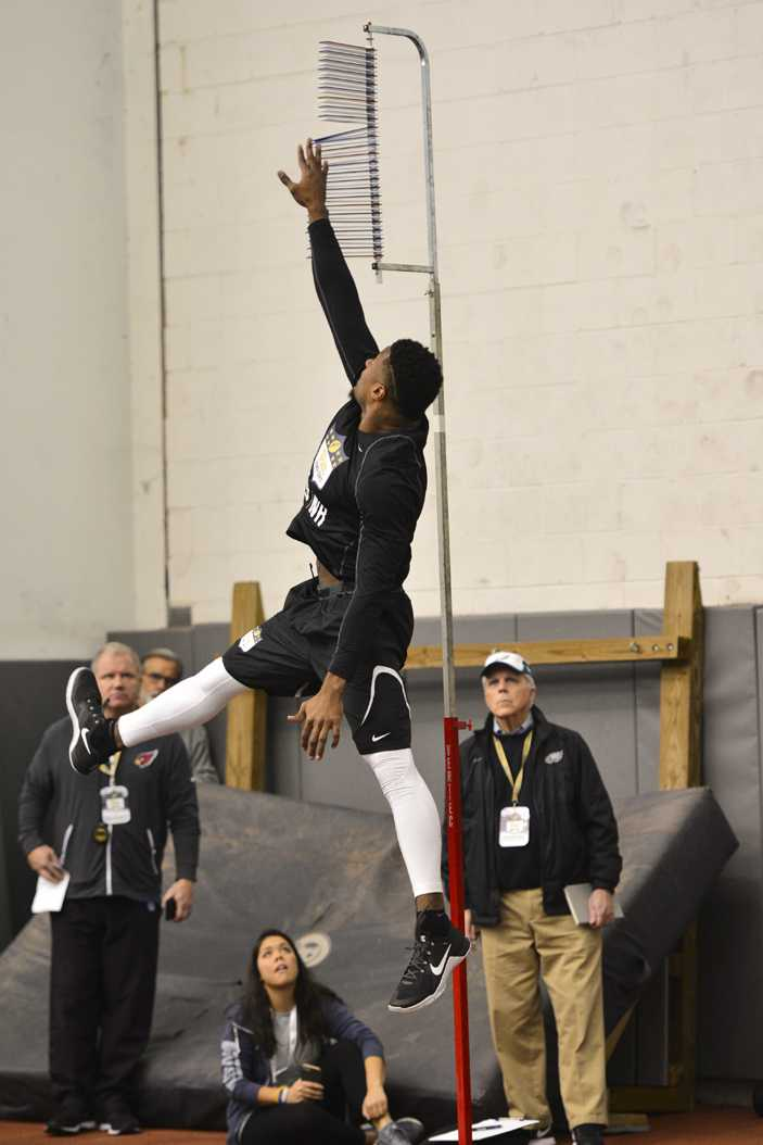 Wide receiver Dontez Ford turned heads with a 36-inch vertical leap at Pitt's Pro Day Wednesday. Meghan Sunners | Assistant Visual Editor
