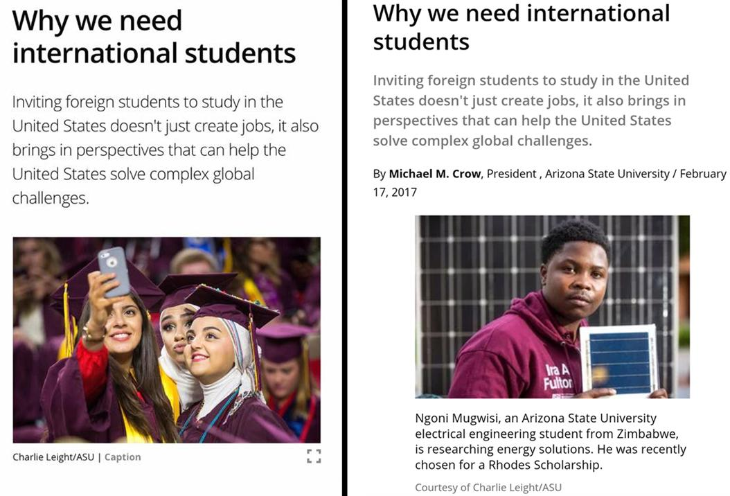 Left: The screenshot Nshwah Alabbadi posted on Feb. 18. Right: The updated article on Mar. 1. Screenshots from csmonitor.com
