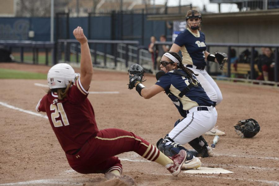 Pitt+catcher+Valerie+Ortega+records+an+out+at+home+plate+in+the+Panthers%27+doubleheader+Saturday+against+Boston+College.+Elaina+Zachos+%7C+Senior+Staff+Photographer