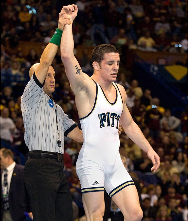 Keith+Gavin+gets+his+hand+raised+after+winning+the+174-pound+national+championship+in+his+final+match+as+a+Panther+in+2008.+Gavin+was+hired+as+Pitt%27s+new+head+wrestling+coach+Friday+morning.+Courtesy+of+Pitt+Athletics