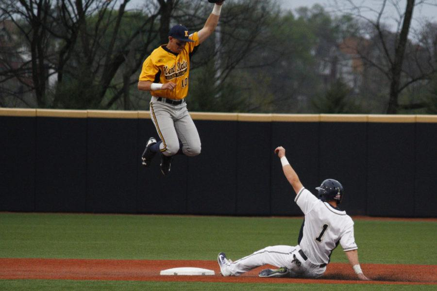 First+year+outfielder+Nico+Popa+slides+into+second+base+during+Pitt%27s+12-8+loss+to+Kent+State+Wednesday+night.+Thomas+Yang+%7C+Staff+Photographer