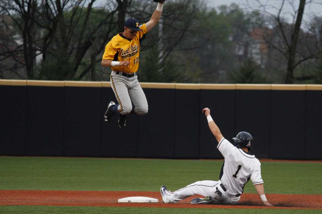 First year outfielder Nico Popa slides into second base during Pitt's 12-8 loss to Kent State Wednesday night. Thomas Yang | Staff Photographer