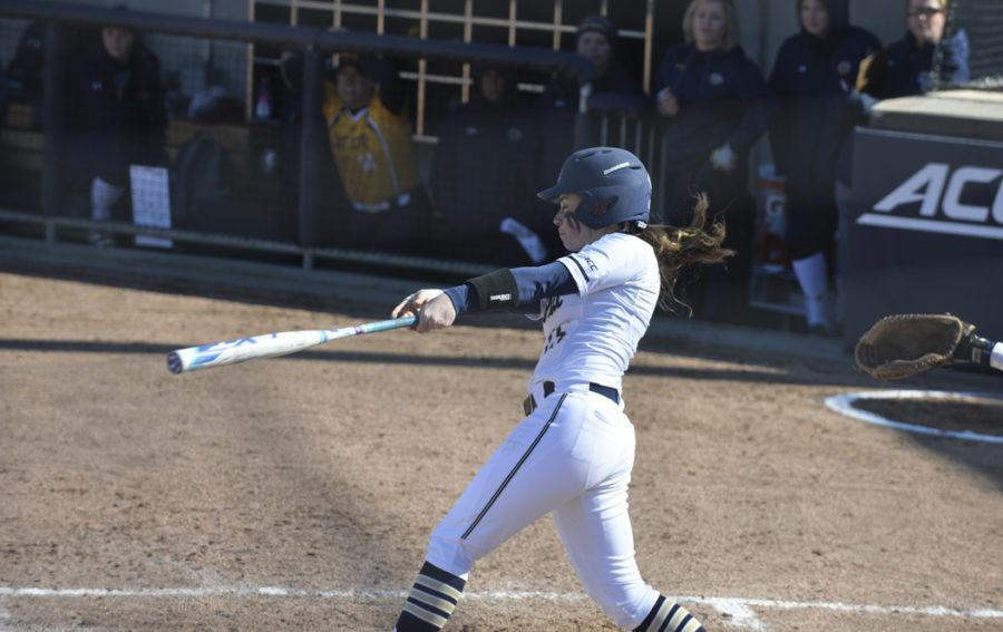 McKayla Taylor hit a home run in Pitt's 8-3 extra inning win at St. Francis. Kyleen Considine | Staff Photographer