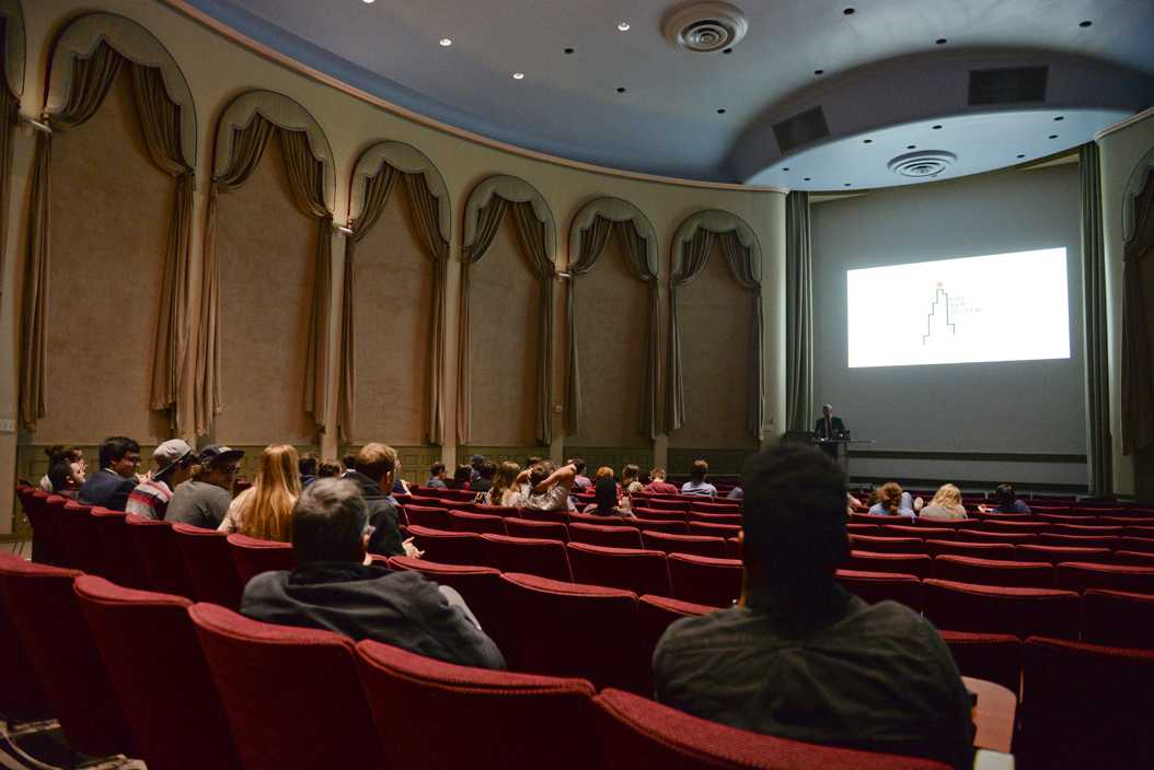 Students gathered in Frick Fine Arts auditorium to watch submissions to the first Pitt Film Festival. John Hamilton | Contributing Editor