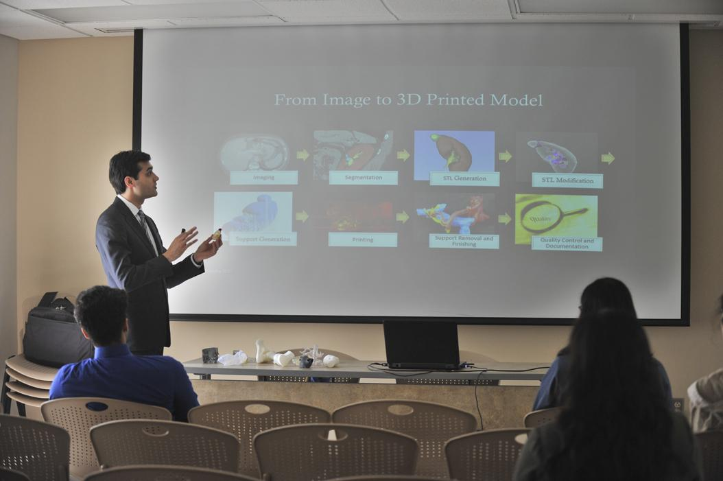 Dr. Anish Ghodadra speaks about 3D printing in radiology during one of the breakout sessions of the Pitt Pre-Health Summit. Meghan Sunners | Visual Editor