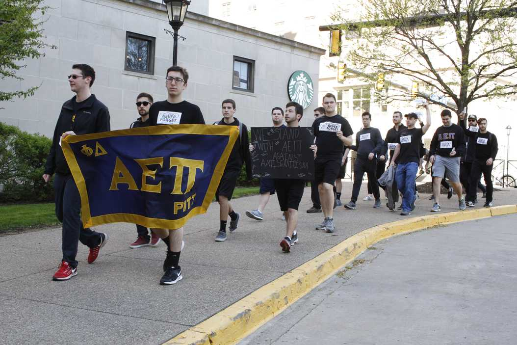 Students dressed in all black and walked from Trees Hall to the WPU in support of those who lost their lives in the Holocaust. Thomas Yang | Staff Photographer