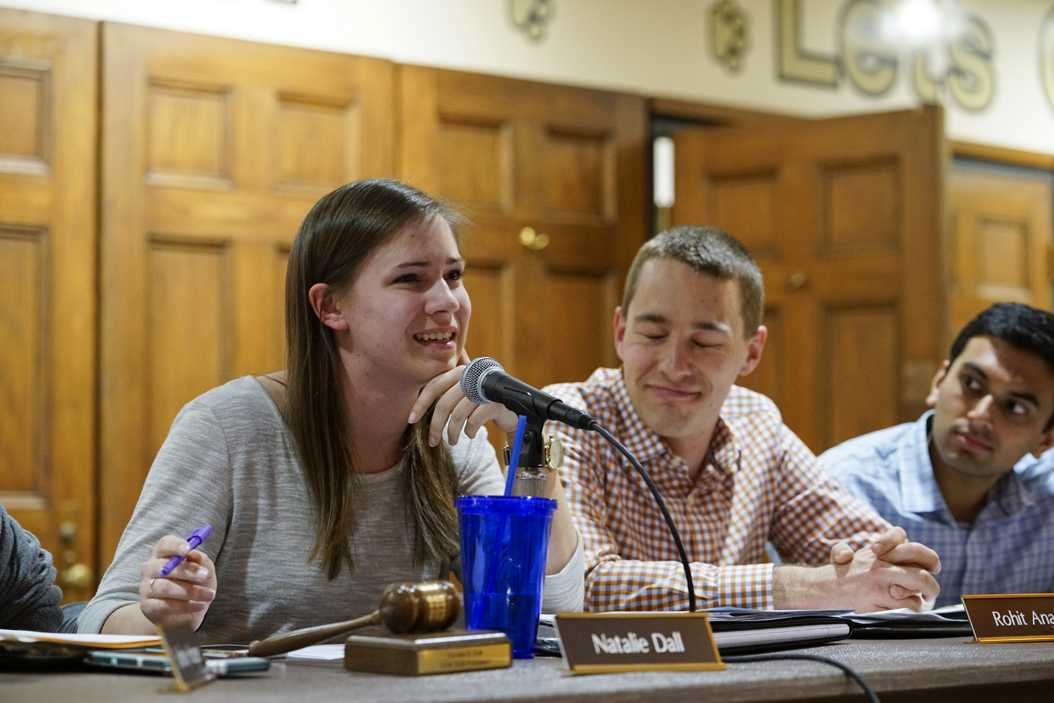 Natalie Dall speaks during her last meeting as SGB president on Tuesday night. Li Yi | Staff Photographer