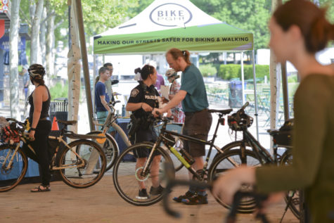 Bike PGH hosted an event in Schenley Plaza on the morning of May 19, National Bike-to-Work Day which was attended by several police officers and civilians. (Photo by Anna Bongardino | Visual Editor)