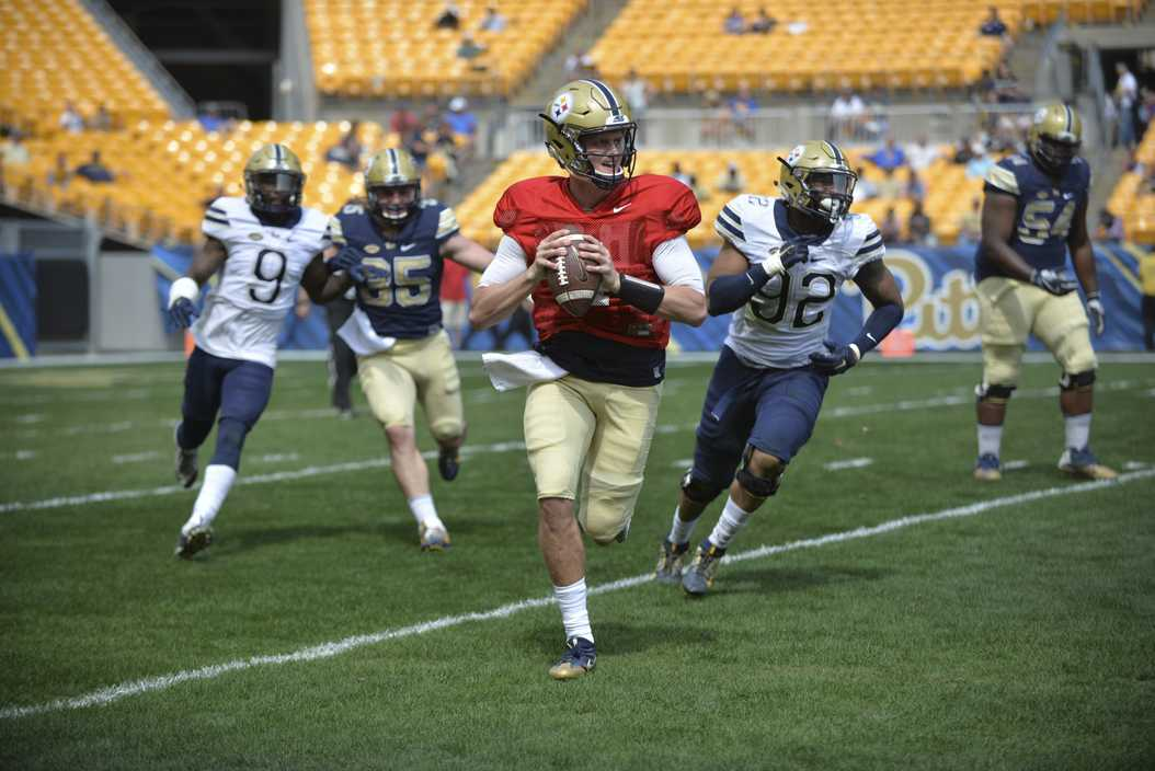 Max Browne (4) transferred to Pitt this winter and will begin the season as the starting quarterback. (Photo by Anna Bongardino | Visual Editor)