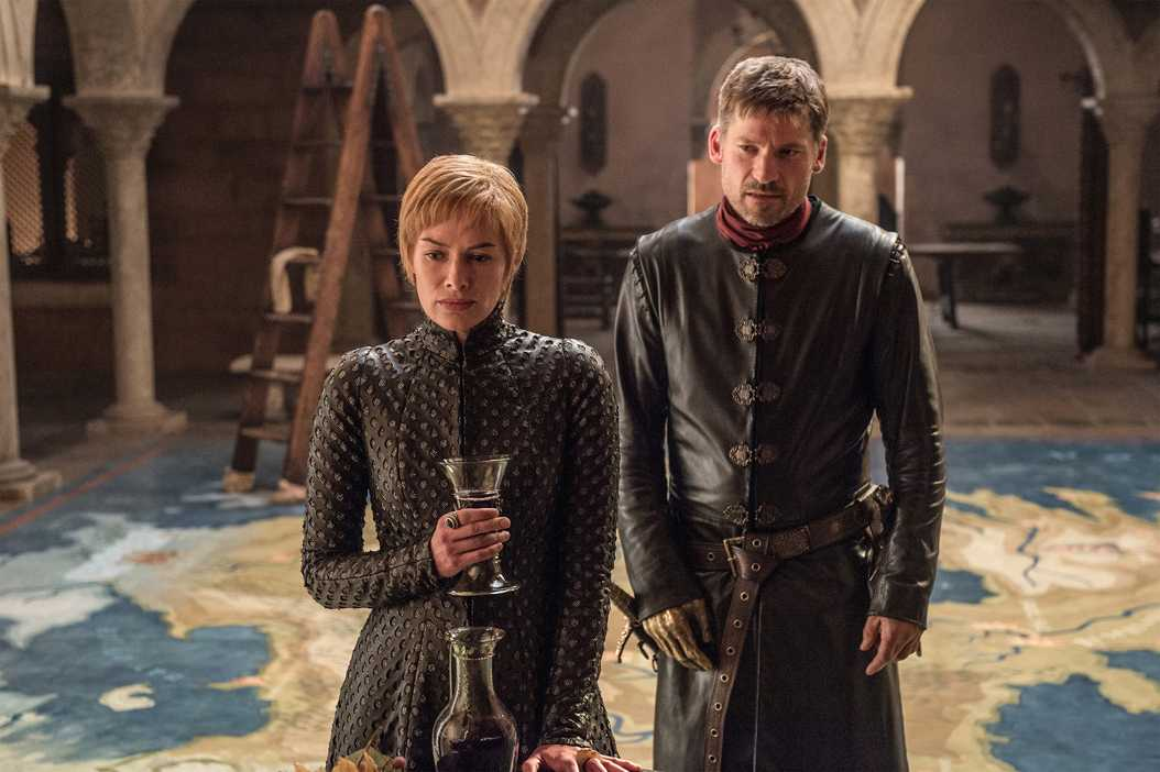 Queen Cersei Lannister (Lena Headey) and Jaime Lannister (Nikolaj Coster-Waldau) weigh their options in The Great Game at the start of Game of Thrones' seventh season. (Helen Sloan/HBO)