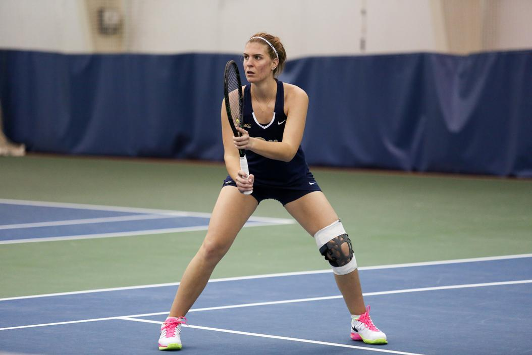 First-year Jovana Knezevic plays in a match against Morgan State. Photo Courtesy of Pitt Athletics