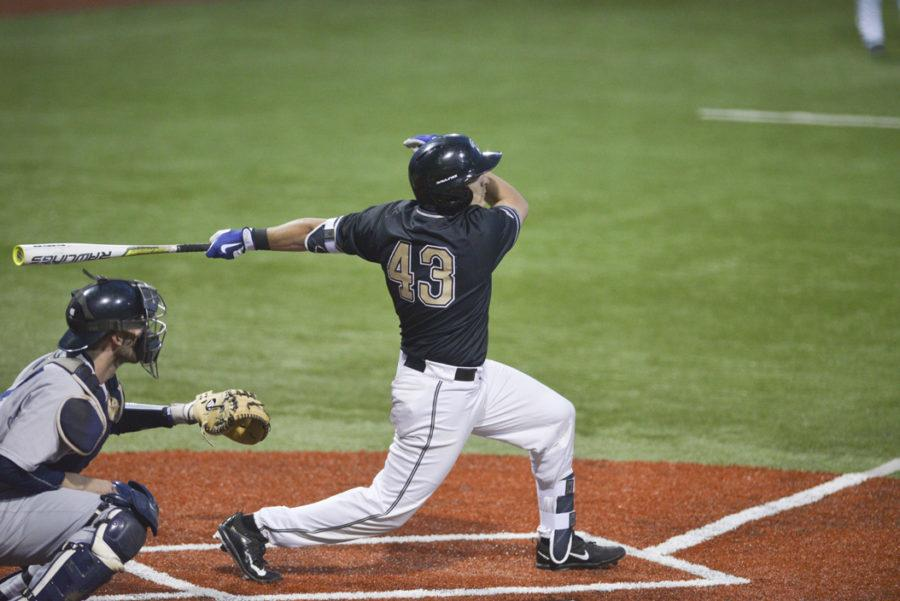 Senior catcher Manny Pazos scored the winning run in Pitt's 5-4 win over Wake Forest Friday. Anna Bongardino | Visual Editor