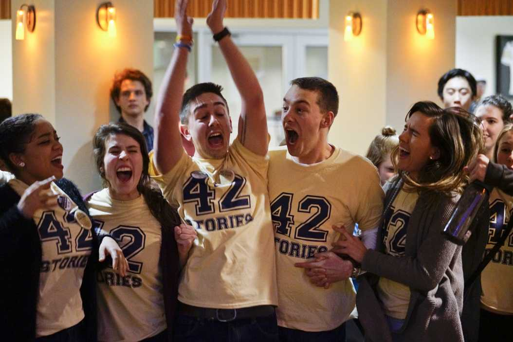 Max Kneis celebrates with his slate after being announced as Pitt's 2017-2018 SGB President. (Photo by Li Yi | Staff Photographer)