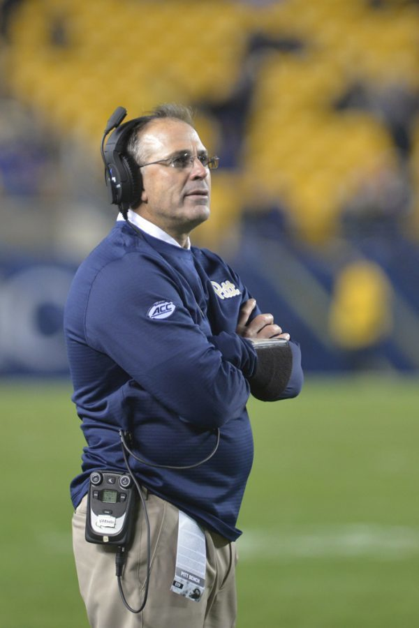 Head Coach Pat Narduzzi has had to replace two offensive coordinators in his short time at Pitt, as Jim Chaney and Matt Canada both left after just one year. Theo Schwarz | Senior Staff Photographer