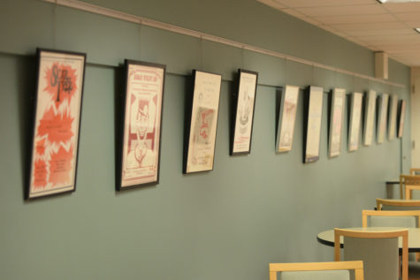 A Scope and Scalpel exhibit in Scaife Hall showcases playbills from med student productions over the past 63 years. (Photo by Maria Heines | Staff Photographer)