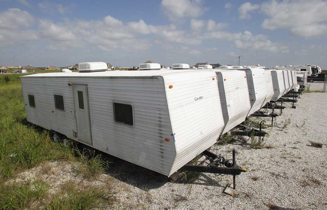 FEMA trailers used in the aftermath of Hurricane Katrina, similar to those sent to the Yakama Nation in 2011. TNS