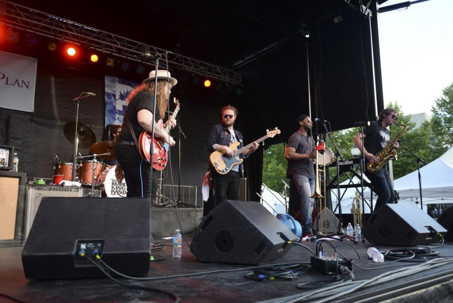 The+Marcus+King+Band+performs+blues+and+R%26B+songs+at+the+WYEP+Summer+Music+Festival+at+Schenley+Plaza+on+Saturday+afternoon.+%28Photo+by+Maria+Heines+%7C+Staff+Photographer%29